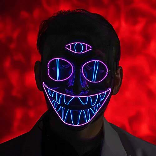 Schnelle Einfache Kostüm Und Clown - U LOOK UGLY TODAY LED Maske Halloween Festival Party Cosplay LED Licht Leuchten Maske Karneval Zubehör mit 3 Blitzmodi