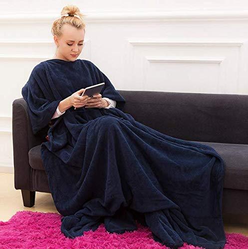 Blanket Fleece-Decke mit Ärmeln & Fuss Taschen, Micro-Plüsch-Vlies-Decke, großer Wrap Decke, für Erwachsene Frauen Männer 123cm x 212cm,Blau