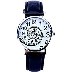 Sunnywill Mode Wirbel-Muster Leder analoge Quarz Armbanduhr für Frauen Mädchen Damen