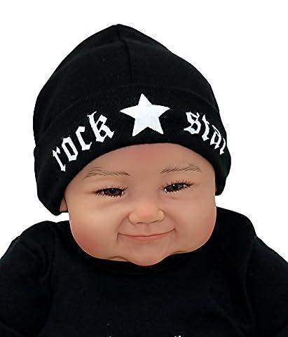 Baby Mütze ROCK STAR schwarz - Beaniemütze 0-2 Monate (Neugeborene) Erstlingsmütze -12159