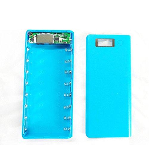 home Powerbank Batteriefach, DIY USB Mobile Energien-Bank-Ladegerät-Kasten-Satz 8pcs 18650 Batteriehalter für Telefon (Blau) (Energie-bank-batterie-kasten)