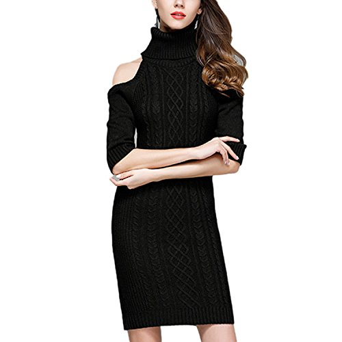 JLTPH Femme Casual Sexy Off-Shoulder Manches Longues Knit Sweater Robe Pull Robe Tricote Col Roulé Tricots Sweater Jumper color2