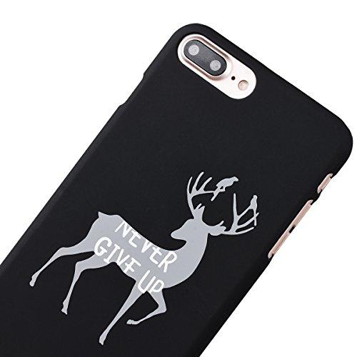 Yokata 2 x iPhone 7 Hülle PC Hart Case Plastik Schale Dünn Case Schutzhülle Protective Cover mit Simple English / Kleine Zibetkatze Katzen Muster - Lila und Grün + 1 x Kapazitive Feder Schwarz