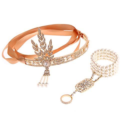 AmDxD Damen 20er Jahre Zubehör Set Flapper Kostüm-Set Zirkonia Blatt Stirnband, Perlenarmband Ringe 20s Kostüme Inspiriert Accessoires Gold