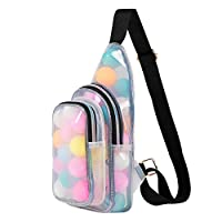 Segorts Clear PVC Sling Backpack Stadium Approved Mini PVC Crossbody Shoulder Backpack Transparent Chest Daypack for Women & Men Perfect for College,Travel,Beach,Concerts