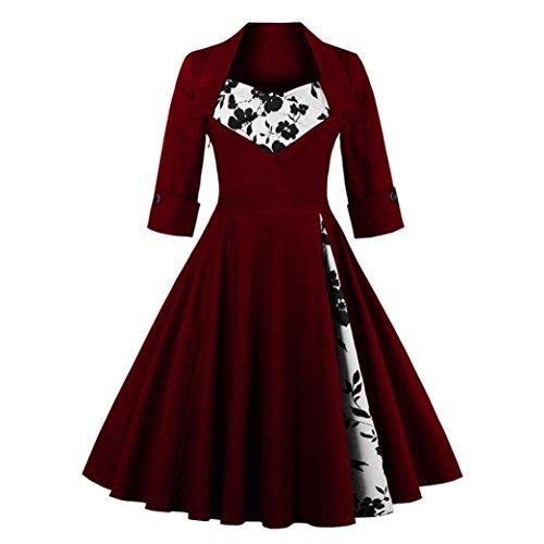Kanpola Kleider Damen Vintage Stil Rockabilly Abend Prom Swing Kleid (Rüschen Kurz Vorne)
