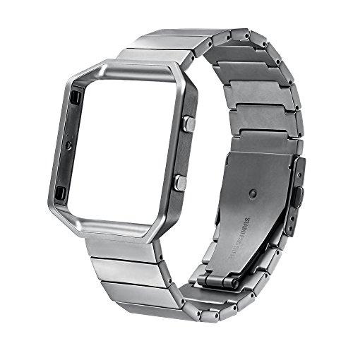 Fitbit Blaze Watch Band,V-MORO Bracelet Smart Bracelet de Montre en métal Acier inoxydable massif Véritable Bracelet de rechange avec cadre en métal pour bracelet Fitbit Blaze Smart Fitness Montre (argent#2)