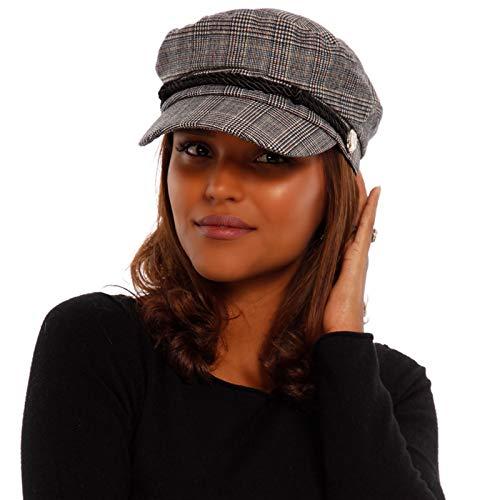 YC Fashion & Style YC Fashion & Style Damen Schiffermütze Kariert Fischermütze Cape mit Schirm und Gummizug, Größe:One Size, Farbe:Karo