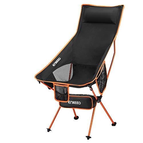 ENKEEO Campingstuhl Klappstuhl mit hoher Rückenlehne, Aluminium Ultraleicht Angelstuhl Faltstuhl, Belastbarkeit bis 150kg für Outdoor, Camping, Angel (Orange)