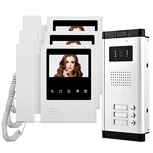 HFeng 4,3 '' Farb-Video-Türsprechanlage mit Türklingel Intercom-System 3 Monitore + 700TVL IR COMS Nachtsicht-Videokamera für 3 Apartments/Familien Video-intercom-system