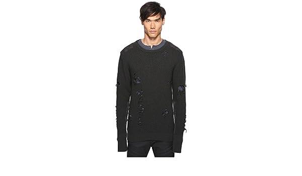 fca26c3928d27 adidas Originals by Kanye West Yeezy Season 1 Men s Destroyed Wool Sweater  Gunpowder X-Small  Amazon.co.uk  Clothing