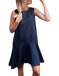 21108d784be MRULIC La Mode des Femmes Manches Courtes O Cou Coton Lin Lâche Bohe Casual  Retro Dress