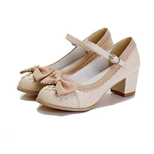 VogueZone009 Femme Rond Boucle Pu Cuir Couleur Unie Chaussures Légeres Beige