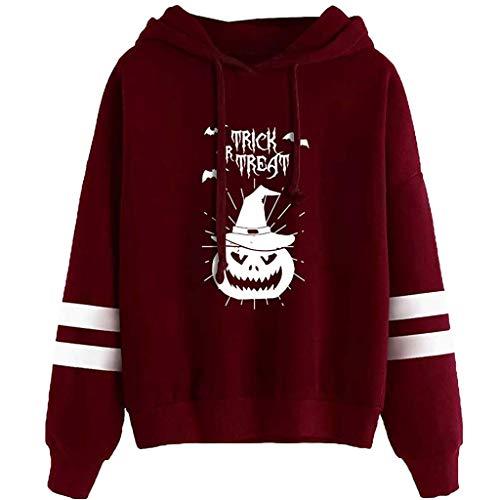 kolila Halloween Kapuzenpullover Sale Damen Casual Halloween Print Streifen Langarm Kordelzug Hoodie Sweatshirt Tops -