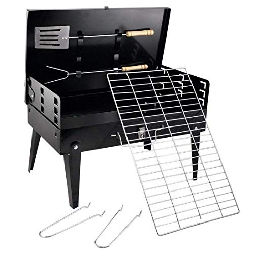 MegaDeal Stainless Steel Portable Briefcase Folding BBQ Grill Toaster, Black