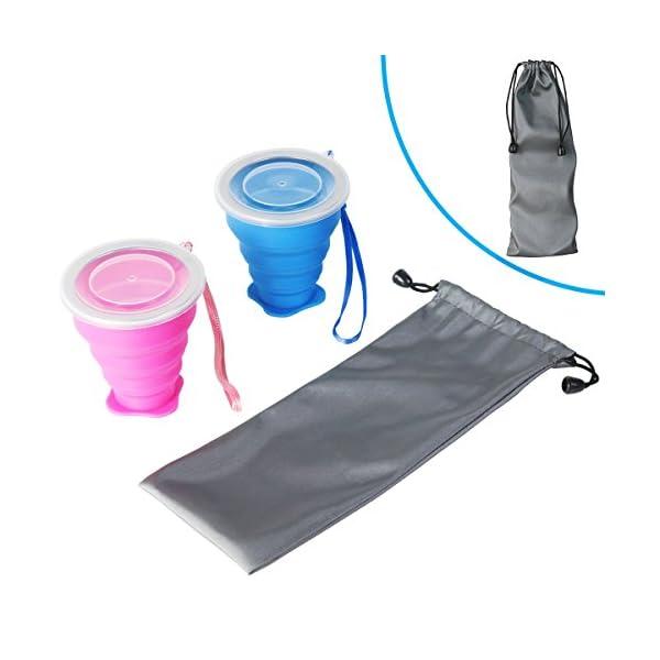 WEINAS 2 pcs Vaso de Agua de Silicona Plegable Portátil Retráctil 200ML Botella de Agua Reutilizable Taza Vaso de Viaje… 7