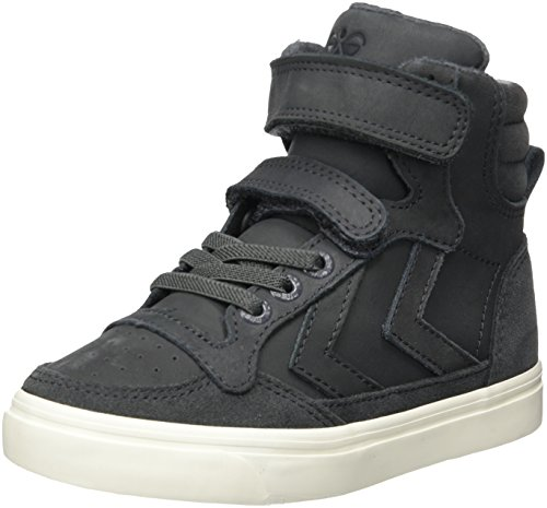 hummel Unisex-Kinder Stadil Oiled High JR Hohe Sneaker, Grau (Asphalt), 30 (Jahre Stil 80er Der Im Jungs)