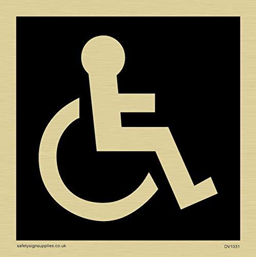 Viking Schilder dv1031-s85-gv Behindertentoiletten Symbol-WC-Türschild, negative schwarz Text, Vinyl gold Aufkleber, 85mm H x 85mm w