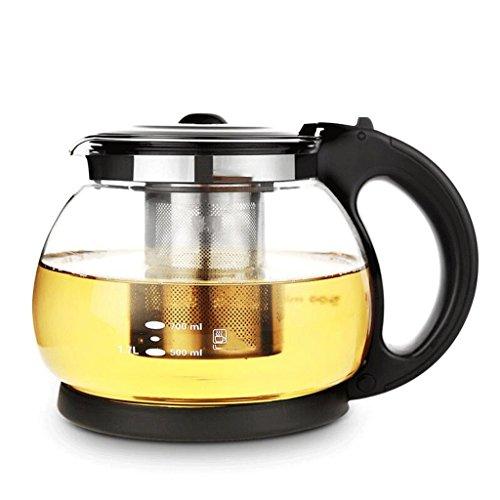Théière en Verre résistant à la Chaleur Filtre Grande Fleur en Verre épaissie thé thé 1700ml GAODUZI