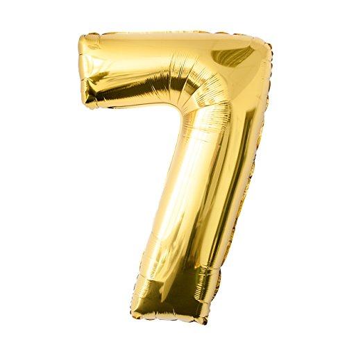 Globo de lámina 7 dorado Número enorme 100 cm rellenable con helio o aero fiesta de cumpleaños