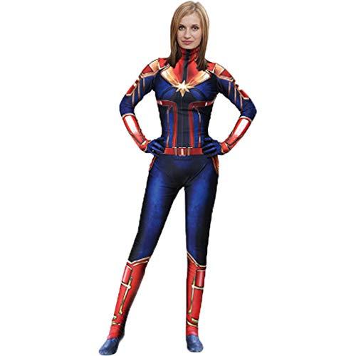 QWEASZER Marvel Avengers Film Captain Marvel Body Spandex Overalls Captain Marvel Kostüm Damen Weihnachten Halloween Show Cosplay Kostüme,Blue-110~120cm (Avenger Kostüm Frauen)