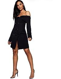YourPrimeOutlet Damen Maisie zweireihiges, schulterfreies Blazer-Kleid 3cc3917f9f
