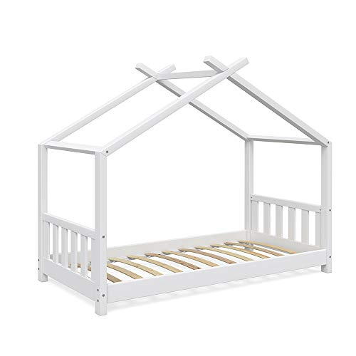 Vicco Kinderbett Hausbett Design 80x160cm weiß Zaun Kinder Bett Holz Haus Schlafen Hausbett Spielbett Inkl. Lattenrost und Fallschutzgitter