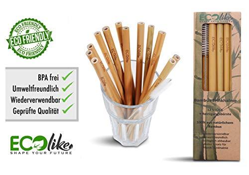 ECOlike® 12er Pack Bambus Strohhalme Trinkhalme wiederverwendbar nachhaltig + Reinigungsbürste Mehrweg 100{06317b8f4690567b3be9f9a798b1de23459bef7dc540f6cfef1e4dd67012169c} biologisch abbaubar   BPA frei   Spülmaschinenfest   Zertifiziert   Cocktail Smoothie