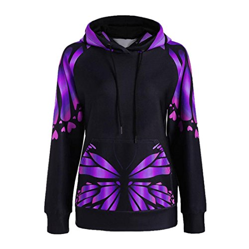 Damen Hoodie Pullover Btruely Frau Herbst Hooded Sweatshirt Mode Langarm Schmetterling Drucken Blumen Tops (XXXXL, Lila) (Lässig Buchstaben Mode)