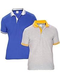 Baremoda Men's Polo T Shirt Grey Blue Combo Pack Of 2