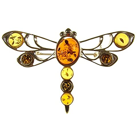 Baltic amber and sterling silver 925 designer multi-coloured dragonfly brooch pin jewellery jewelry
