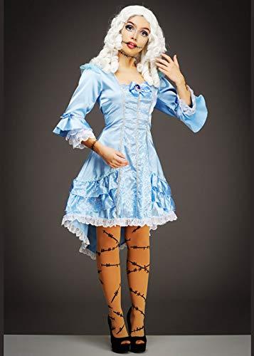 Magic Box Int. Womens Halloween Gothic Blue viktorianischen Puppe Kostüm Large (UK 12-14) (Viktorianische Puppe Kostüm)
