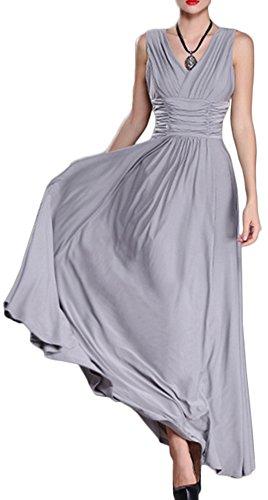 Mochoose Damen Falte Ärmellose V-Ausschnitt Bodenlang Abendkleider Cocktail Party Hochzeit Abend Tanzenkleider