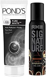Pond's Pure White Anti Pollution With Activated Charcoal Facewash, 100g & Axe Signature Dark Temptation Body Perfume, 154 ml