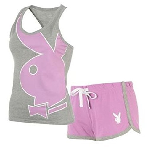 ladies-playboy-grey-lilac-pyjamas-set-womens-vest-top-lace-shorts-pjs-nightwear-small