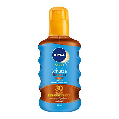 Nivea Sun Schutz & Bräune Sonnenöl-Spray mit Bräunungs-Aktivierung, Lichtschutzfaktor 30, 1er Pack (1 x 200 ml) - Natürliche Bräune-Öl