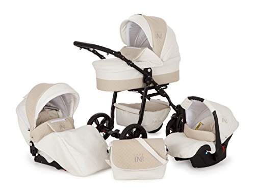 Lux4Kids Kinderwagen Set Babywanne Sportsitz Babyschale Wickeltasche Matratze 3in1 VIP Luxus Made in EU Easy One Weiß & Beige