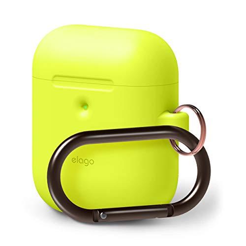 elago A2 Silikonhülle [2019 NEON Collection] Kompatibel mit Apple AirPods 2 Wireless Hülle (LED Vorne Sichtbar) - [Unterstützt kabelloses Laden] [Extra Protection] (mit Karabiner, Neon Gelb)