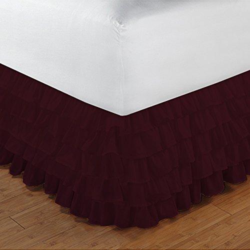 600TC 100% cotone egiziano, finitura elegante 1pcs multi Ruffle Giroletto A Goccia (lunghezza: 25cm), Cotone, Brick Red Solid, Single_Extra_Long Wine Solid