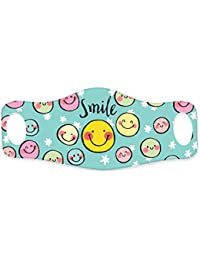 Hopcara Kids Printed Face Mask Smileys Supersoft Double Layer Lycra Fabric for Full face covering around ear lobes - Anti-Pollution Dust Cloth Face Cover, Resuable, Pack of 3