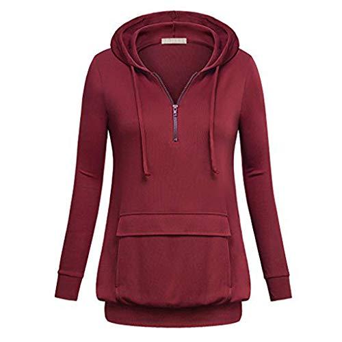 Yvelands Damen Pullover Plus Größe langärmeliges festes Sweatshirt Tasche mit Kapuze Tops Shirt(EU-32/S,Weinrot)
