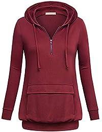 2a35621de14321 GreatestPAK Pullover Damen Einfarbig Lose Mit Kapuze Langarm Sweatshirt