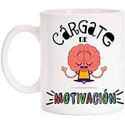 Taza Cárgate de motivación. Taza regalo para opositor, estudiante, trabajador, alumno,