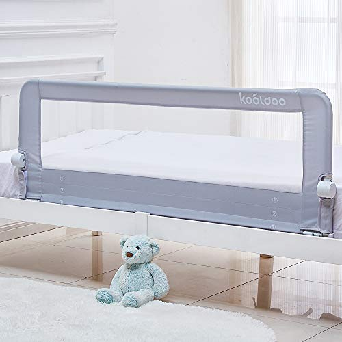 Bettgitter 150cm Kinderbettgitter Babybett Bettschutzgitter klappbar Fallschutz Rausfallschutz für Baby Kinder (Grau)