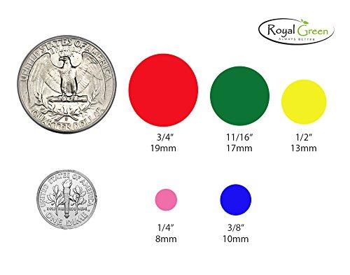 """Pegatinas de lunares en verde, amarillo, rosa, morado, naranja, marrón, azul y rojo–etiquetas de colores 3/4""""(19mm) por Royal verde"""