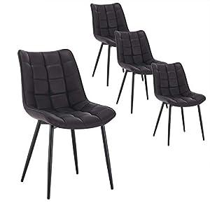WOLTU 4 x Esszimmerstühle 4er Set Esszimmerstuhl Küchenstuhl Polsterstuhl Design Stuhl mit Rückenlehne, mit Sitzfläche…