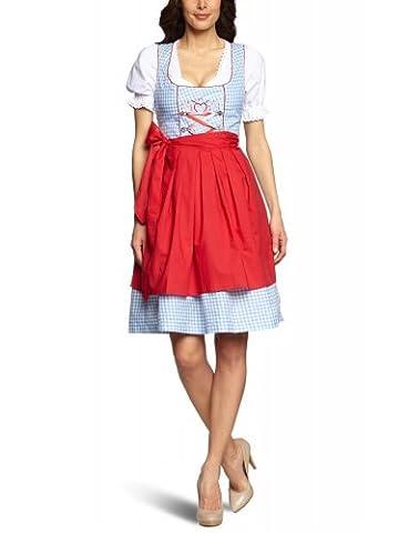 Mini-Dirndl Lucy - hellblau-weiss kariert - rot/pink - 32-46, Größe:42