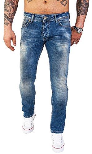 Rock Creek Designer Herren Jeans Hose Stretch Jeanshose Basic Slim Fit [RC-2113 - Denim Blau - W33 L32] (Stretch-bund)
