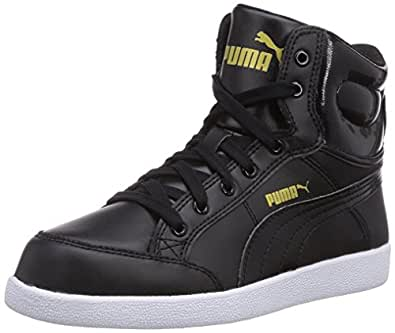 Puma Unisex Ikaz Mid Jr Black and Team Gold Leather Sneakers - 4C UK