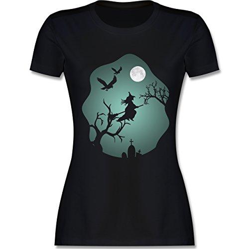 Halloween - Hexe Mond Grusel Grün - M - Schwarz - L191 - Damen Tshirt und Frauen T-Shirt